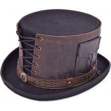 Steampunk Top Hat With Leather Strapped Goth Cosplay Antique Victorian Hat