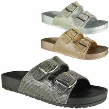 New Womens Ladies Peeptoe Mules Sliders Sandals Platform Casual Comfy Shoes Size