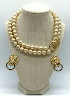 KJL KENNETH LANE for AVON Lion's Head Knocker faux Pearl Necklace Earrings