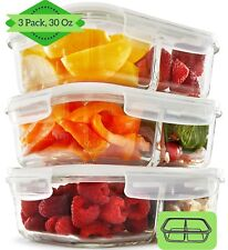 2 Compartment Glass Meal Prep Food Storage Containers (3 Pack) - Divided 30 oz