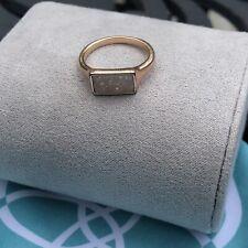 Kendra Scott Glenna Ring Platinum Drusy Set In Rose Gold Rectangular Shape SZ 6