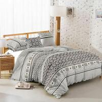 Six (6) Piece Comforter Set, Grey & Black, Modern Floral Mosaic Design (King)