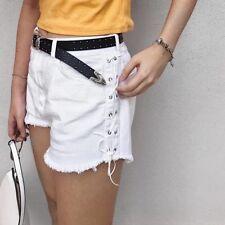 Zara high waist jeans shorts schnürung 42 lace up