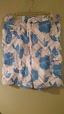 Men's Board Shorts, Swim Trucks, Bathing size 34 Blue, Gray & White