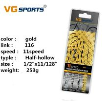 VG Sports 11S 116Link Bicycle Chain Half-Hollow MTB Road Bike Chain Sliver/Gold