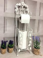 Shabby Chic French Vintage Style White Metal Freestanding Loo Toilet Roll Holder