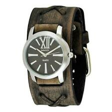 Black/White Roman Ladies Watch with Faded Dark Brown Leather Cuff Band KBFXB065K