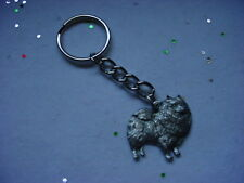 Keeshond Dog Pewter Silver Keychain Christmas Ornament Key Chain Ring Usa puppy