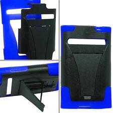 LG Optimus Logic L35G Advanced HYBRID KICK STAND Rubber Case Cover Black Blue