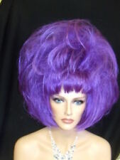 SIN CITY COSTUME WIGS WILD FUNKY DARING PURPLE SHORT PAGE STRAIGHT POINTY VOLUME