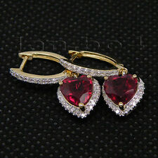 Attractive Real Diamond Red Ruby Earrings Solid 14kt Yellow Gold Heart 7mm E0029