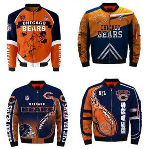 3D Mens Chicago Bears Jacket Ma1 Flight Bomber Thicken Coat Football Outwear