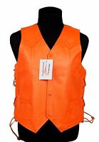 Unisex Harley Orange Leather - Traditional Style With Side Lace Motorcycle Vest