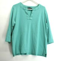 Jones New York Women's 2X Plus V-Neck 3/4 Sleeve Cotton Top T-Shirt Teal Green