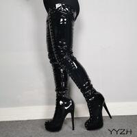 Women Platform Sexy Rivets Thigh High Shiny Boots Stiletto High Heels Boots Size