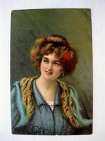 1908 Postcard  Beautiful Woman Portrait Nice Color Artist Signed