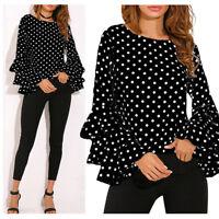 Fashion Women's Casual Blouse Tops Ladies Bell Long Sleeve Loose Polka Dot Shirt