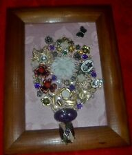 Vintage Jewelry Art Bouquet, signed & framed