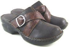 I love Comfort Dharma Heart Leather Clog Buckle Floral Design Brown Womens 5.5 M