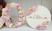 Floral freestanding wooden roses 15cm any letter & round name room plaque gift