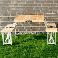 Table de Camping Pliante Bois Pique-Nique Sièges pour Groupe Sac Aluminium
