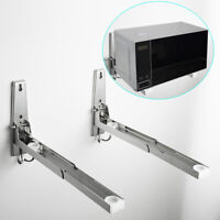 Stainless Steel Microwave Oven Wall Mount Stand Holder Shelf with Removable Hook