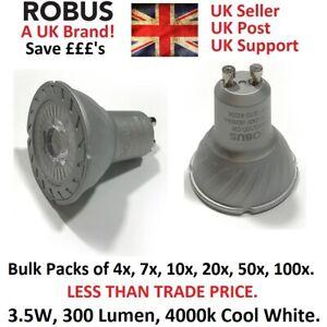 LED GU10 Bulb 3. 5w = 35W Cool White/ Natural/ Day light/ 4000k. 240V. Robus.