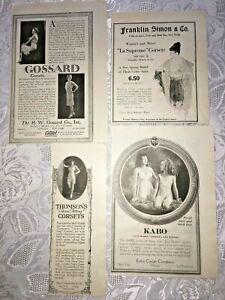 Vtg 1919 Corset Advertising Magazine Print Ad LOT of 4 Kabo Gossard Thomson