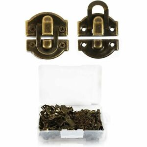 Antique Brass Hasp Lock, Box Toggle Latch with Extra Screws (50 Pack)