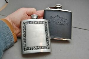 Lot 2 Drink Whiskey Flask  Stainless Steel 6oz Jim Beam Black & Selwin Pewter