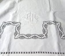 "Vintage French Sheet, Monogrammed ""BM"", Embroidered, Lace, Ladderwork, 110 x 90"""