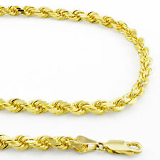 """Diamond Cut Rope Chain Link Necklace- 26"""" 14k Yellow Solid Gold Mens 5mm Italian"""