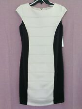 Women's Cap Sleeve Color Block Knit Sheath Dress - Sandra Darren - Size 4