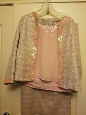 3 Piece Women's Size 12 Pink/Grey Skirt Suit