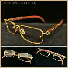 Men Sophisticated CLASSY ELEGANT Clear Lens EYE GLASSES Gold & Wood Wooden Frame