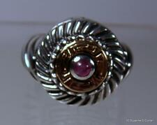 ALS Italy 18k Gold & Sterling Silver & Pink Tourmaline Statement Ring Size 6 1/2