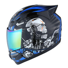 NEW 1STORM DOT MOTORCYCLE STREET BIKE FULL FACE HELMET MECHANIC WHITE SKULL BLUE