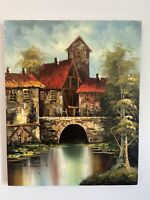 Beautiful Oil on Canvas Original Painting Signed by Artist River Bridge Village