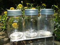 3 Vintage LAMB PINT MASON CANNING STORAGE JARS CLEAR ROUND W/ ZINC LIDS LOT
