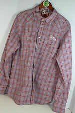 Jachs Shirt Red White Blue Plaid Long Sleeve Snap Front Patches XL