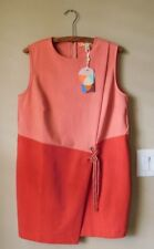 NWT Ted Baker Crossover Front Tunic Dress 5 Pink Orange Exposed Zipper $239