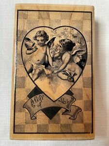 """Paper Inspirations K9115 Gift of Love Wood Block Rubber Stamp 3 x 4.5"""" Heart"""