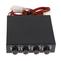 PC Panel 4-channel Cooling Fan Speed Controller Bright LED Light Knob Switch