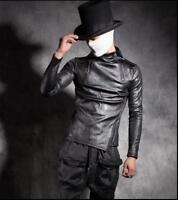 Mens Winter T-Shirt Slim Fit High Collar Leather Gothic Top Warm Thick Top Pants