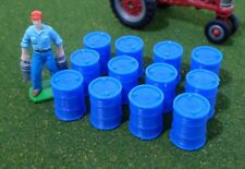 1/64 Scale Oil Drums, Set of 12 (Blue)