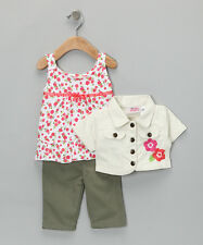 White & Green Flower Jacket 3 Pc Set- Size 4T Young Hearts Toddler Girls