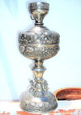 ANTIQUE LARGE REPOUSEE SILVER PLATED OIL LAMP BASE CHERUBS IOANNINA GREECE 16.9""