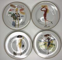 """Sakura Glamour Girls Salad Desert Plates Set Of 4 Fashion Whimsical Inspiring 8"""""""
