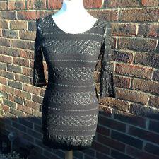Fabulous Black Lace Topshop Stretch Long Top / Dress Size 12
