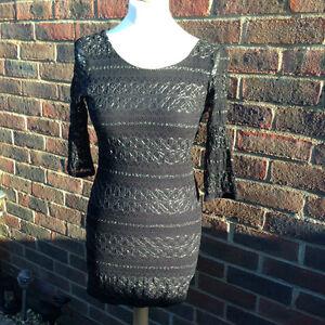 Fabulous Black Lace TOPSHOP Stretch Long Top Dress Size 12